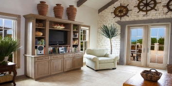 This Turks and Caicos vacation villa rental has a spacious living room.