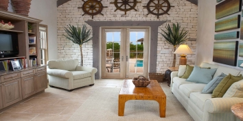 This Turks and Caicos holiday villa rental has a tastefully decorated living room.