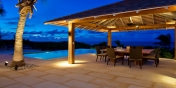 Al fresco dining under the stars at villa Castaway, Thompson Cove, Providenciales (Provo), Turks and Caicos Islands.