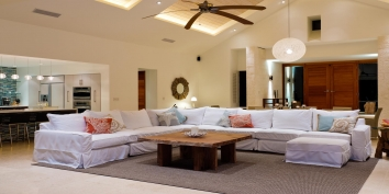 The spacious and contemporary great room at villa Castaway, Thompson Cove, Providenciales (Provo), Turks and Caicos Islands.