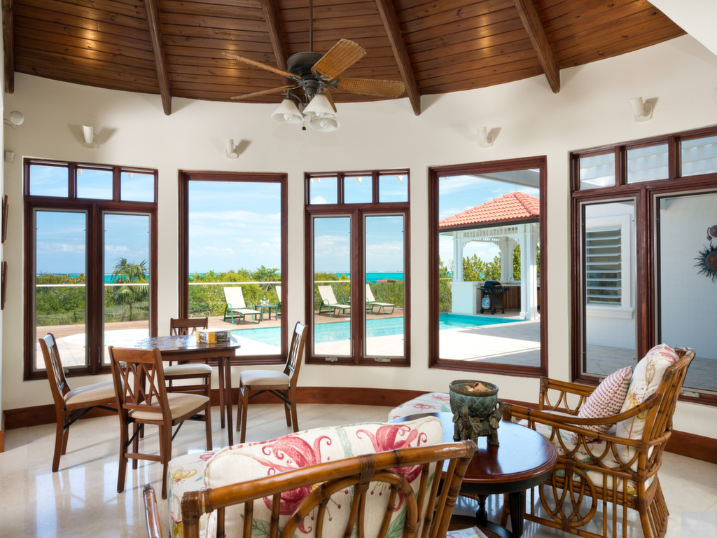 Almost all of the rooms at this Turks and Caicos luxury villa rental have stunning views over Grace Bay.