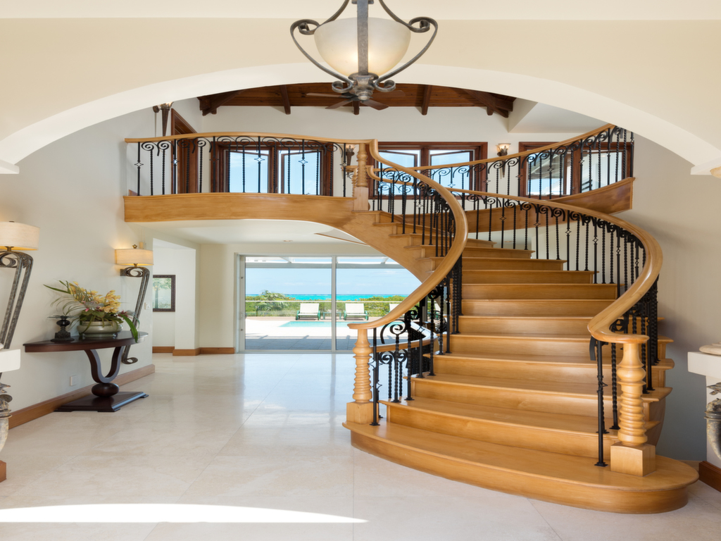 Dawn Beach Villa, Grace Bay Beach, Providenciales (Provo), Turks and Caicos Islands has a feature staircase.