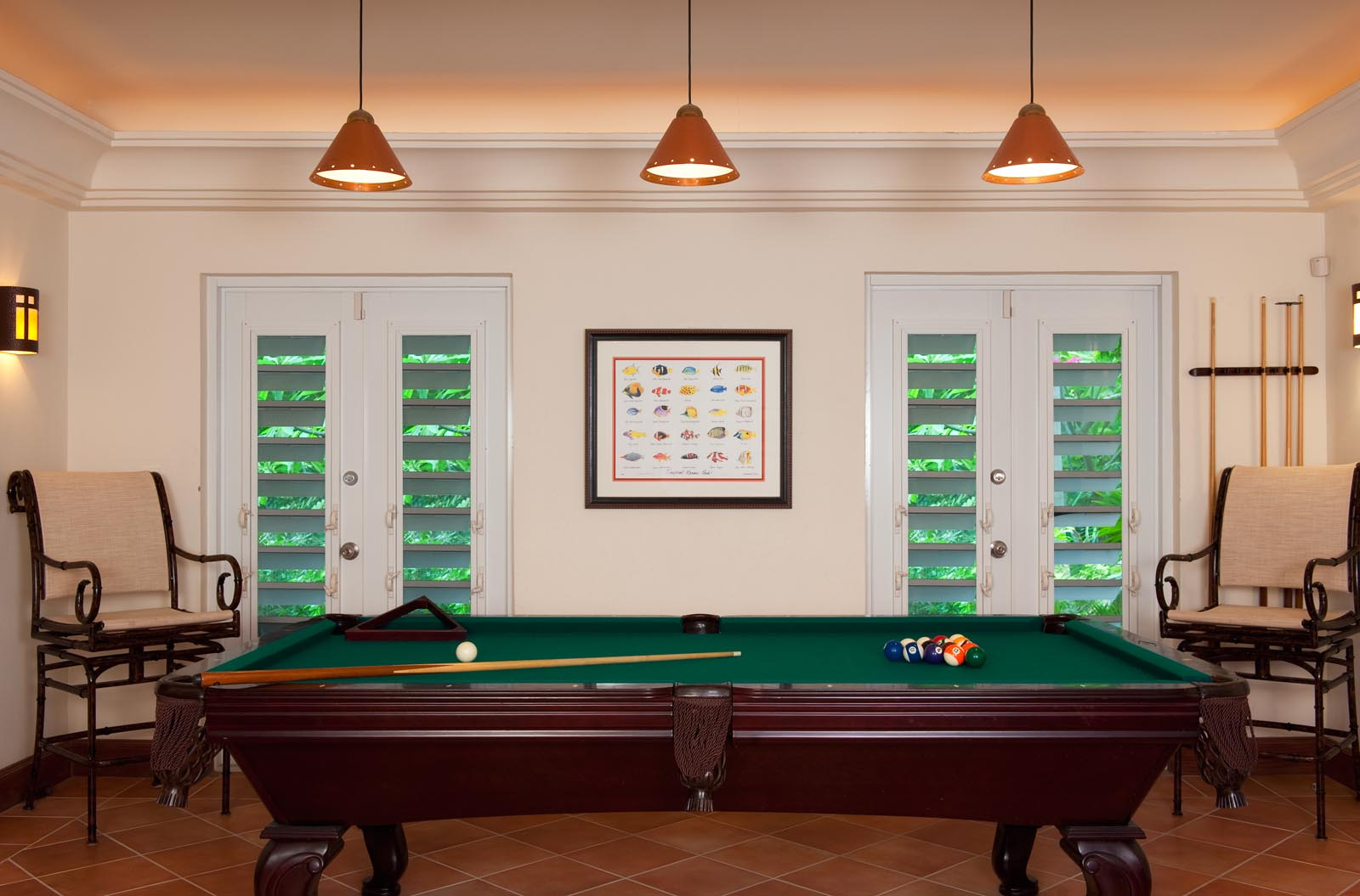 Dawn Beach Villa has a recreation room with a billiard or pool table for your vacation pleasure.