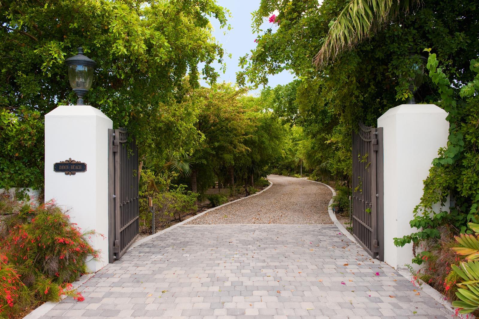 Enter into a very private enclave - Dawn Beach Villa, Grace Bay Beach, Providenciales (Provo), Turks and Caicos Islands.