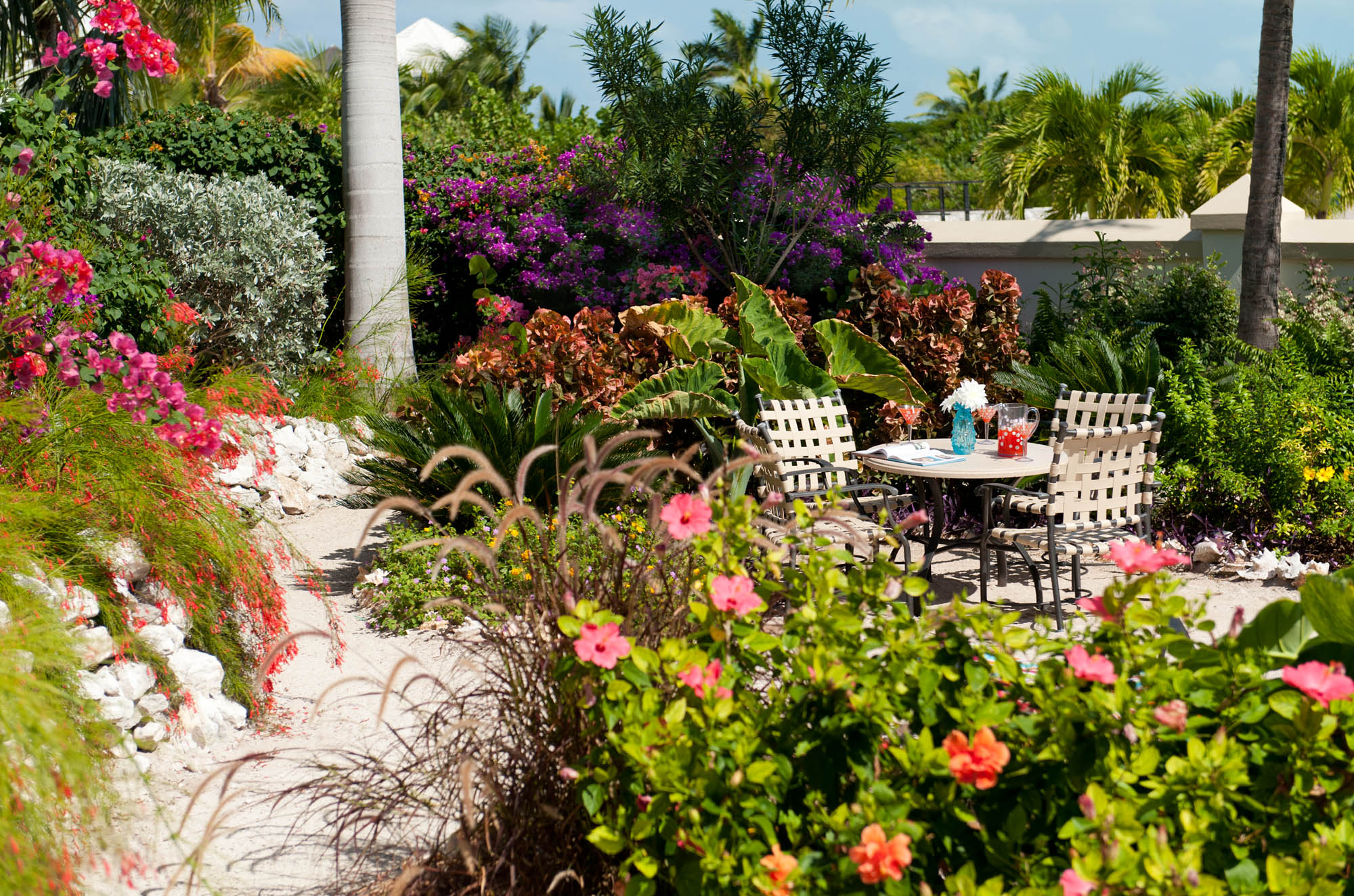 Beautifully manicured gardens at this Turks and Caicos luxury villa rental.