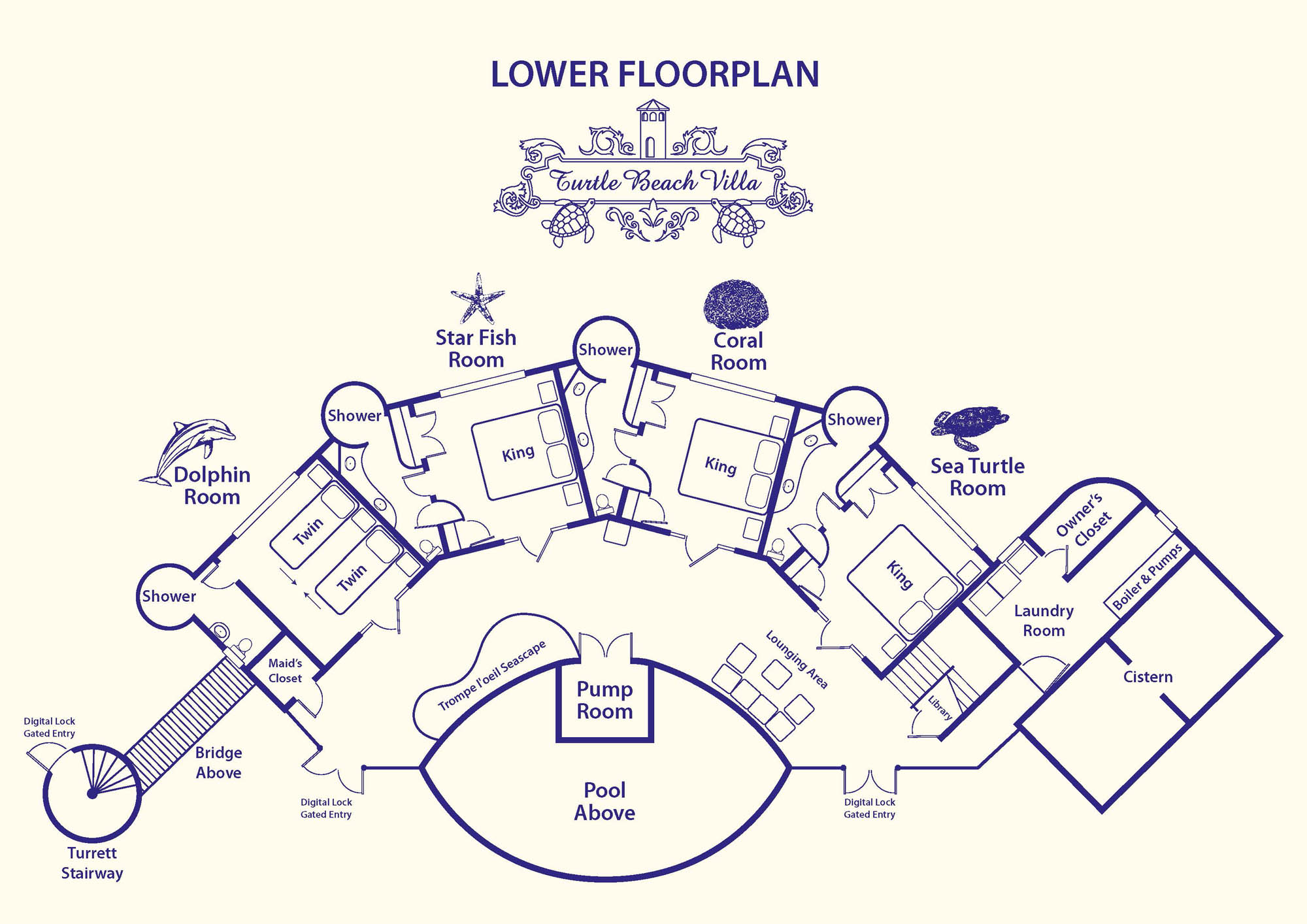 The lower level floorplan of Turtle Beach Villa, Grace Bay Beach, Providenciales (Provo), Turks and Caicos Islands.
