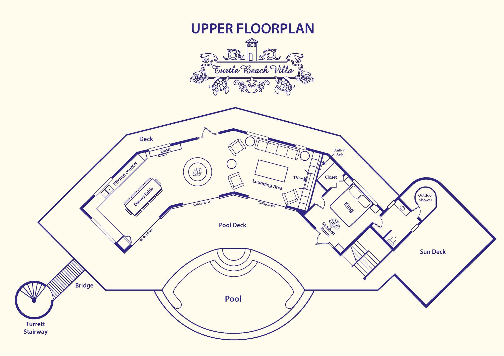 The upper level floorplan of Turtle Beach Villa, Grace Bay Beach, Providenciales (Provo), Turks and Caicos Islands.