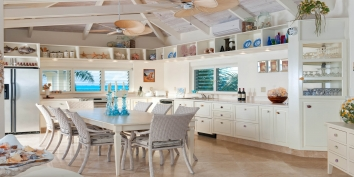 This Turks and Caicos luxury villa rental has a fully equipped kitchen for preparing delicious meals during your vacation.
