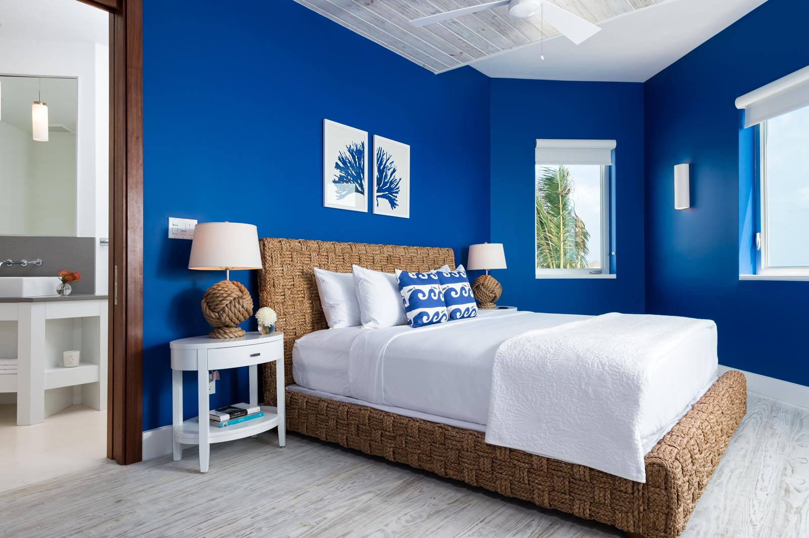 One of the lovely master bedrooms at Villa Aguaribay, Long Bay Beach, Providenciales (Provo), Turks and Caicos Islands.