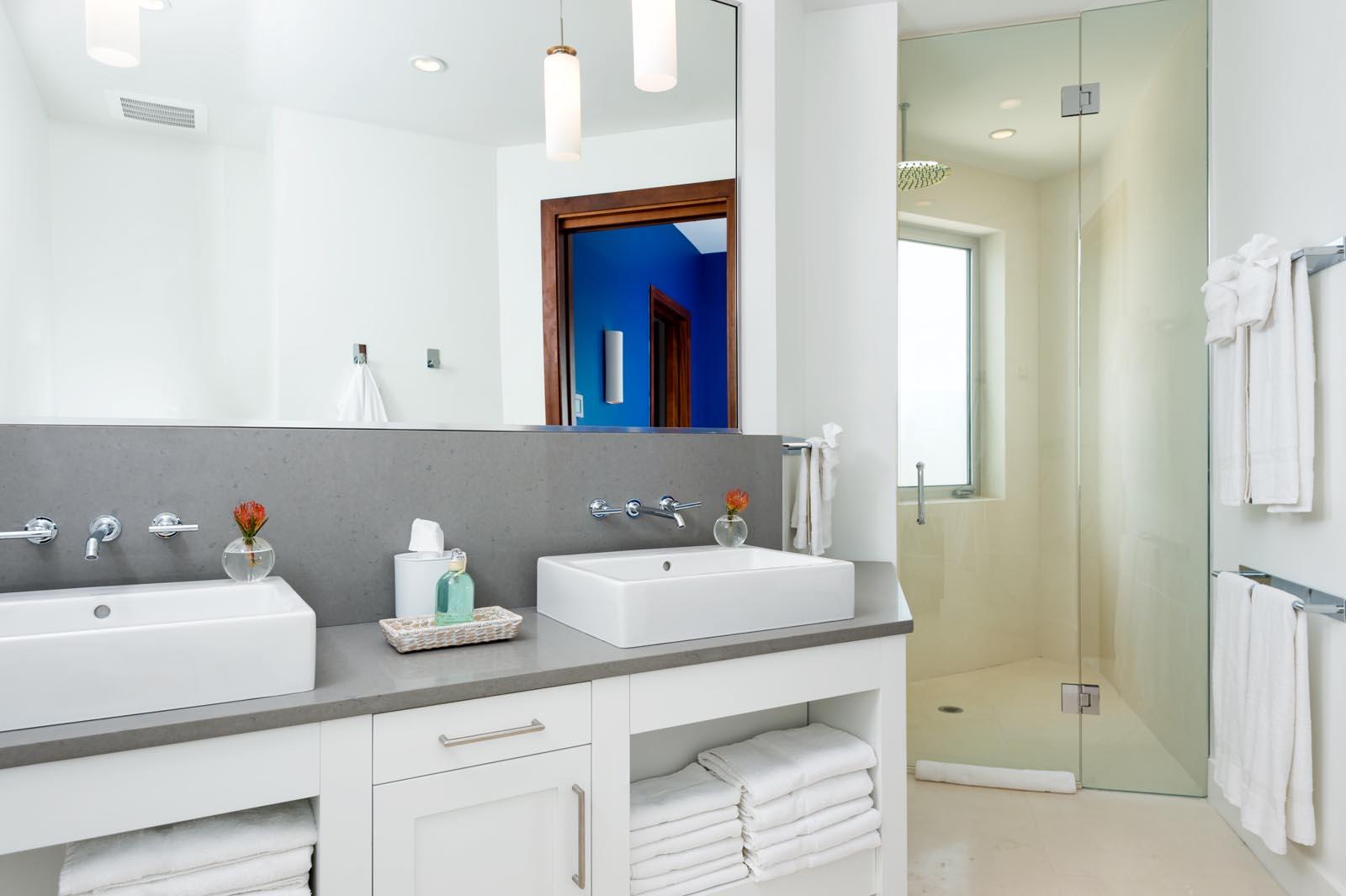 Each master bedroom has a private, ensuite bathroom at Villa Aguaribay, Long Bay Beach, Providenciales (Provo), Turks and Caicos Islands.
