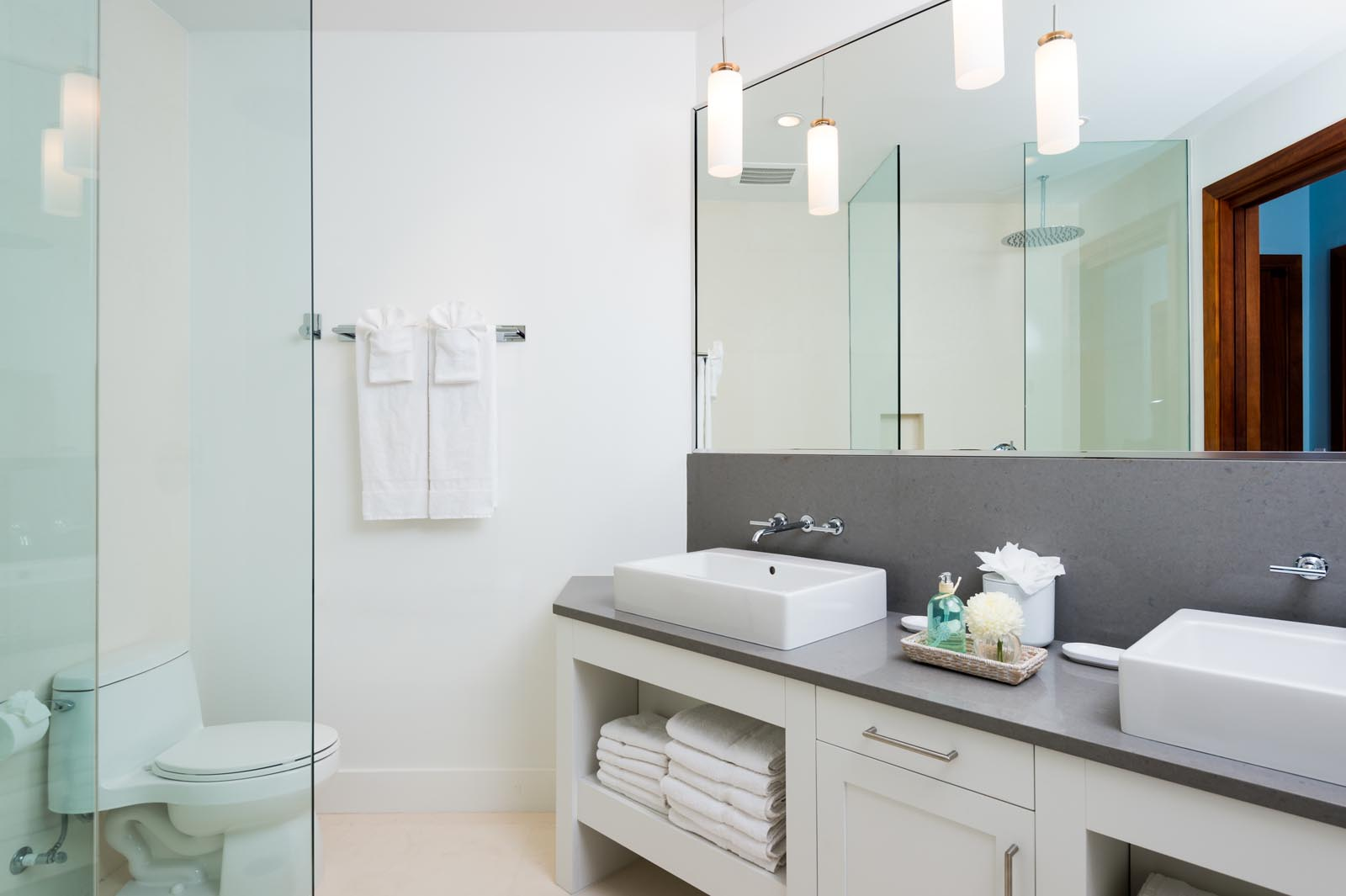 Take a refreshing shower in your private bathroom at Villa Aguaribay, Long Bay Beach, Providenciales (Provo), Turks and Caicos Islands.