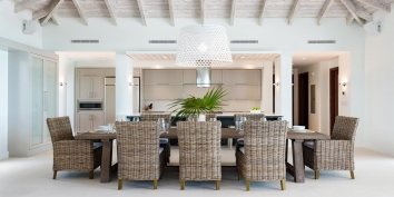 The indoor dining area of this Providenciales luxury villa rental.