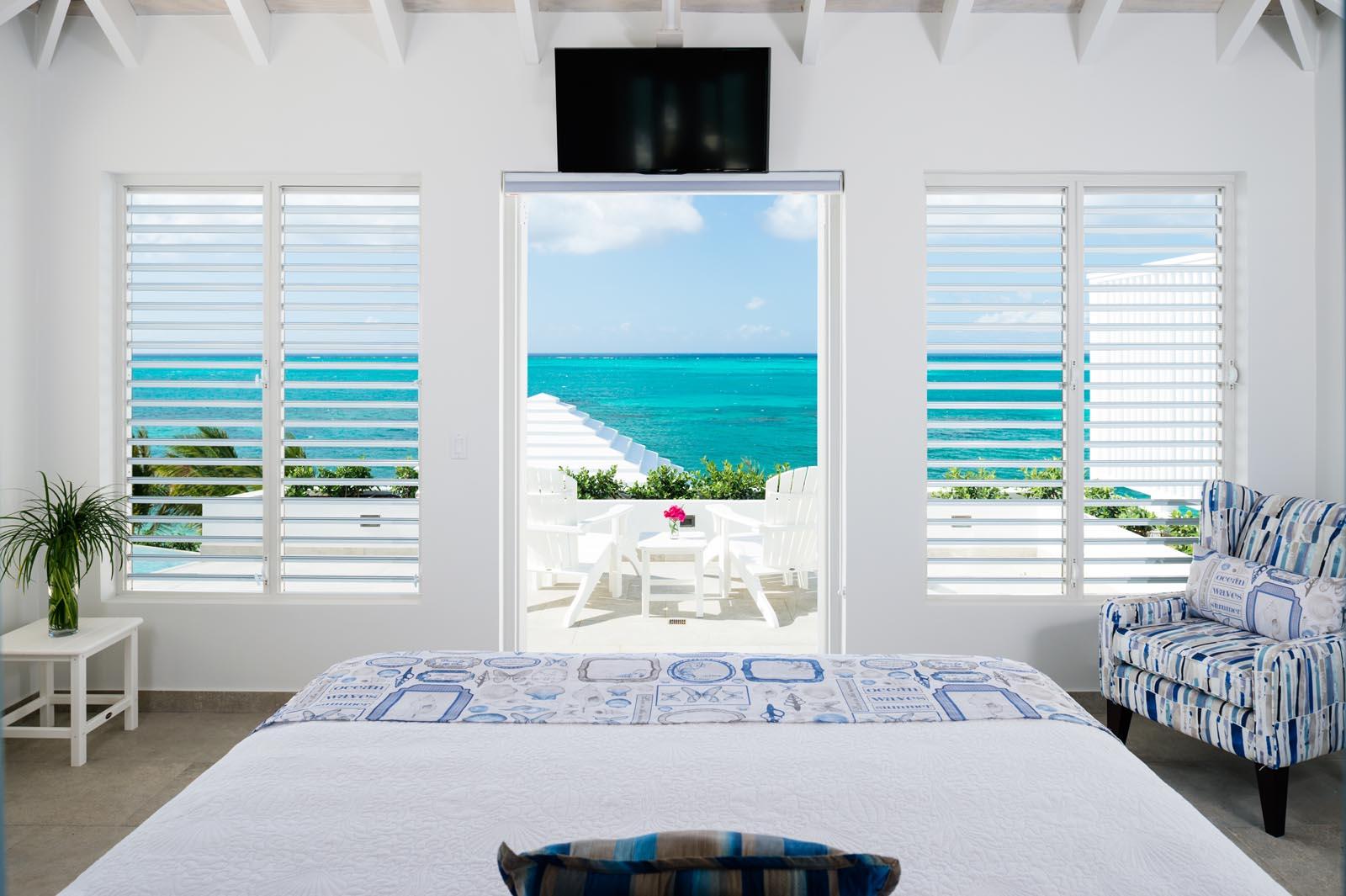 All 6 master bedroom suites have a private patio or balcony at villa Villa Cascade, Babalua Beach, Providenciales (Provo), Turks and Caicos Islands.