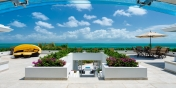 One of the spacious terraces of this luxury Turks and Caicos villa rental.