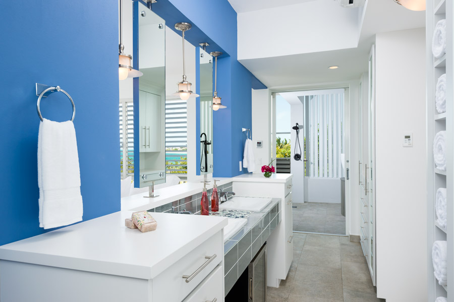 One of the modern designed bathrooms at Villa Cascade, Babalua Beach, Providenciales (Provo), Turks and Caicos Islands.