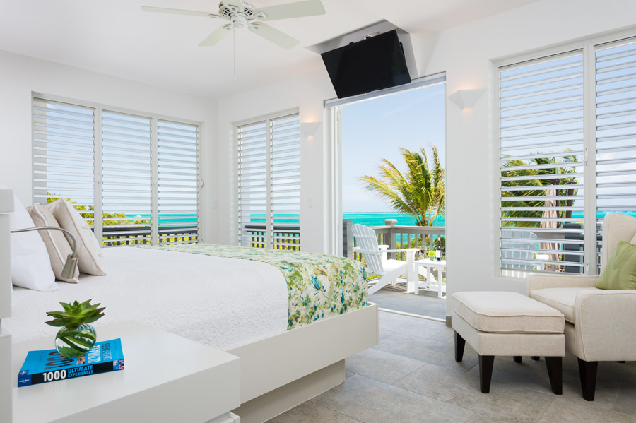 Feel the breeze while laying on the king size bed at Villa Cascade, Babalua Beach, Providenciales (Provo), Turks and Caicos Islands.