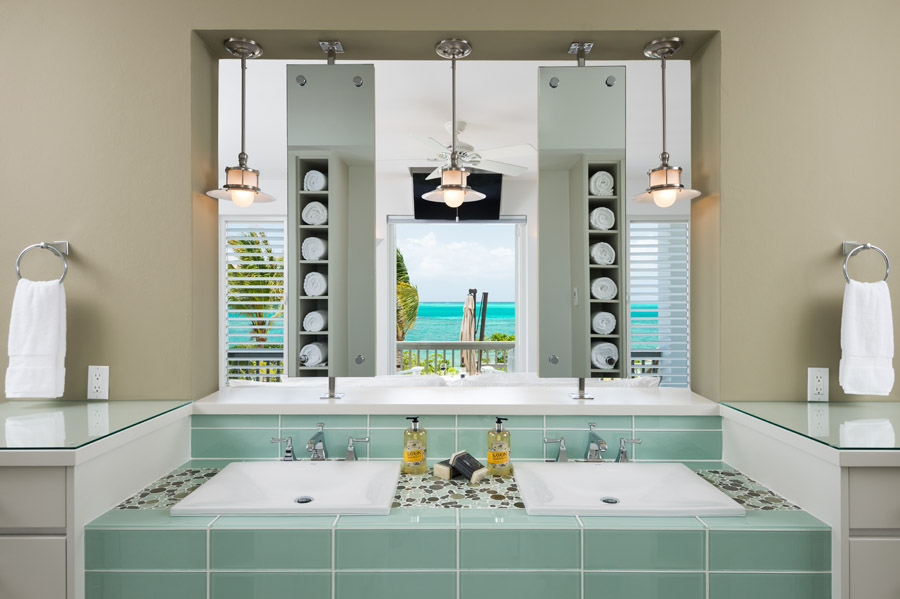 A beautifully designed bathroom at this Turks and Caicos luxury villa rental.