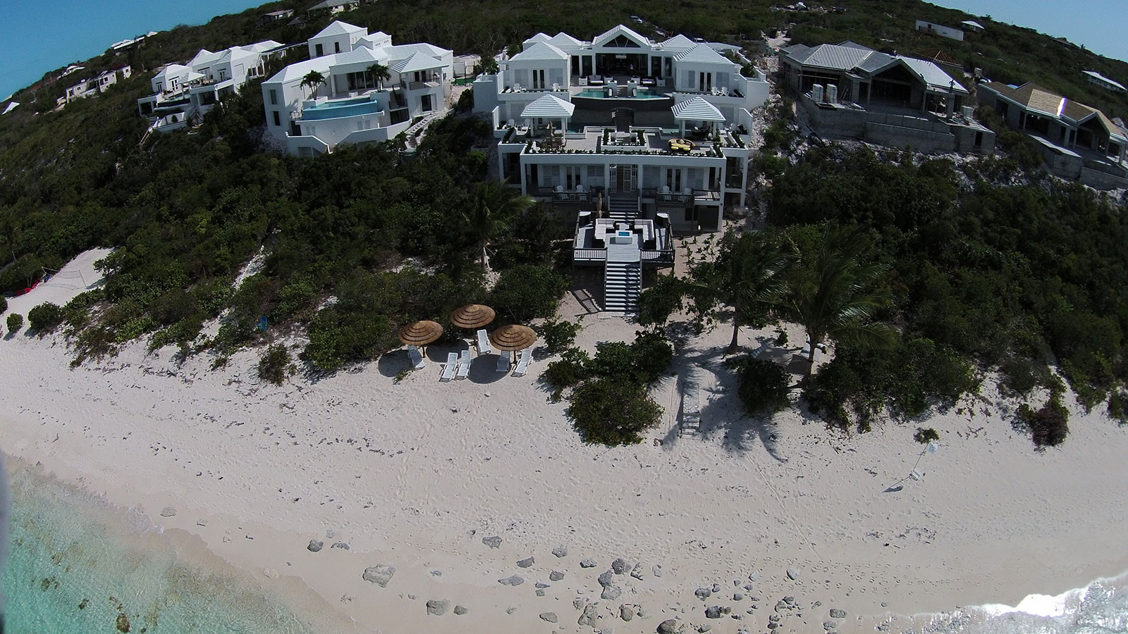 An aerial photograph of this and other Turks and Caicos villa rentals.