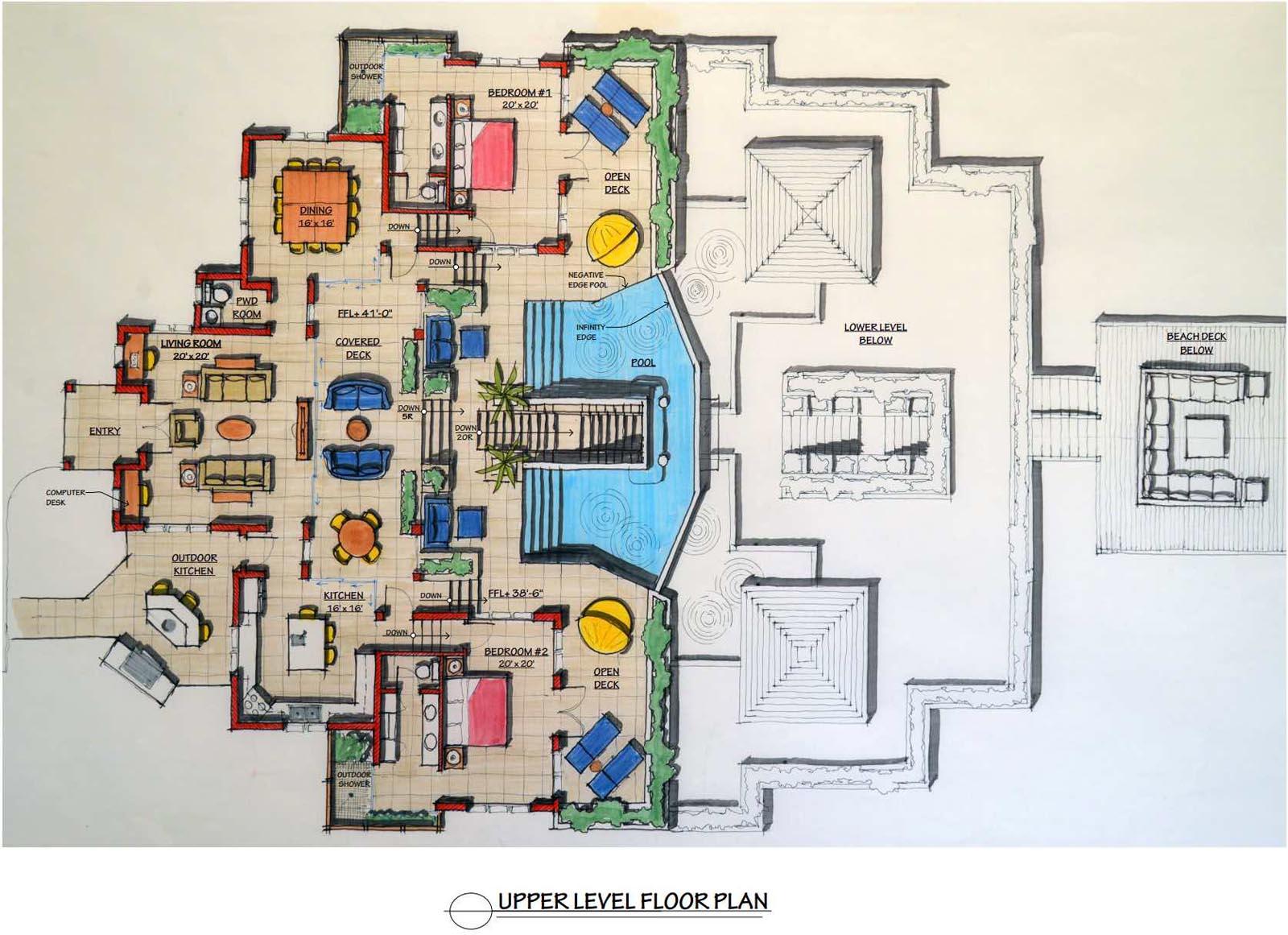 The upper floor plan of Villa Cascade, Babalua Beach, Providenciales (Provo), Turks and Caicos Islands