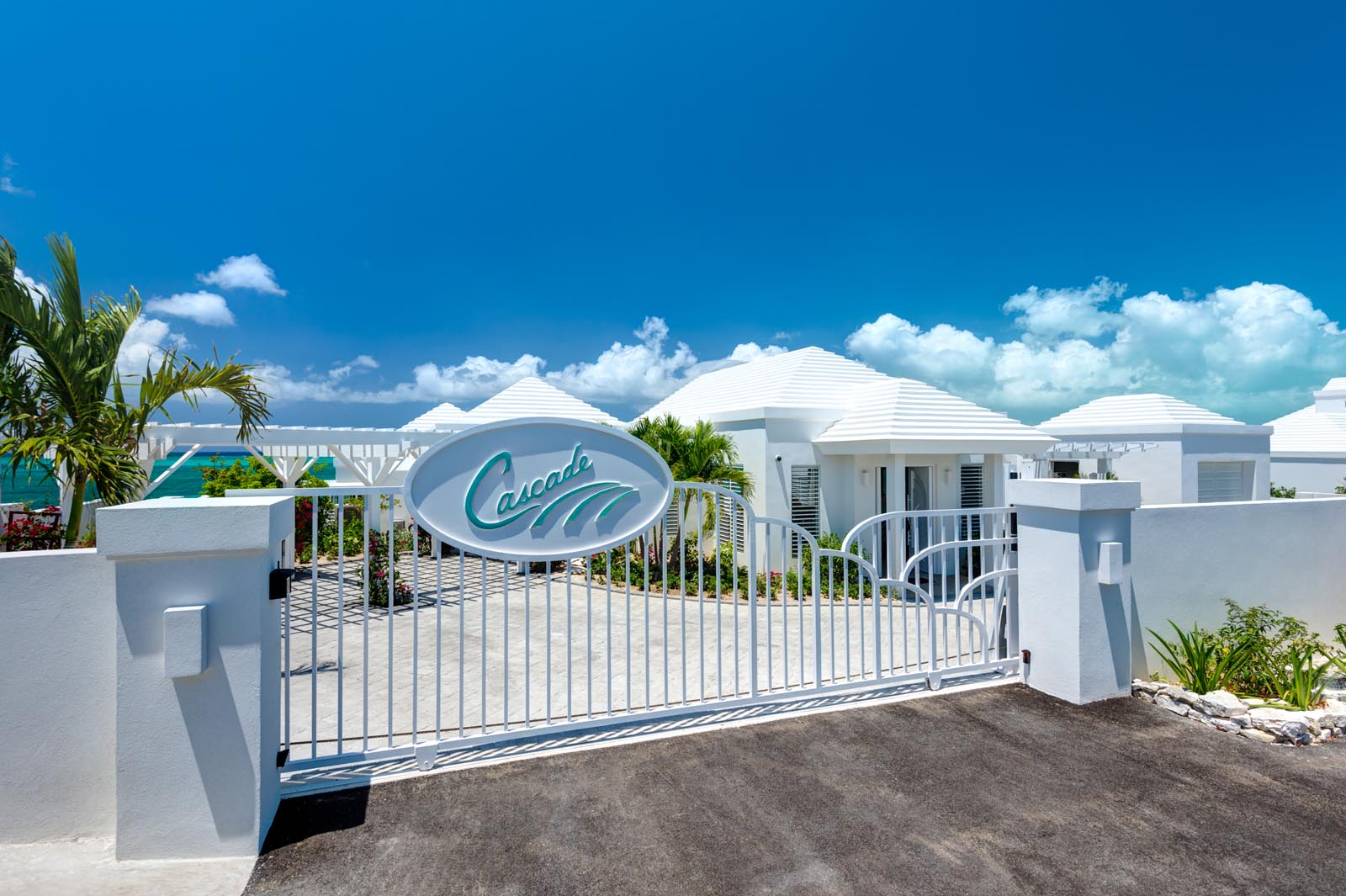 The private security gate of this Turks and Caicos vacation villa rental.