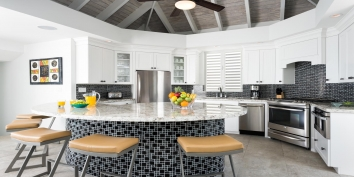 The fully equipped kitchen at Villa Cascade, Babalua Beach, Providenciales (Provo), Turks and Caicos Islands.