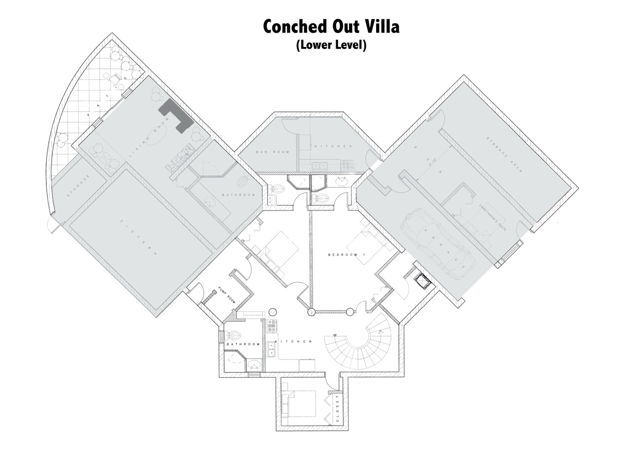 The lower level floor plan of Conched Out, Long Bay Beach, Providenciales (Provo), Turks and Caicos Islands.