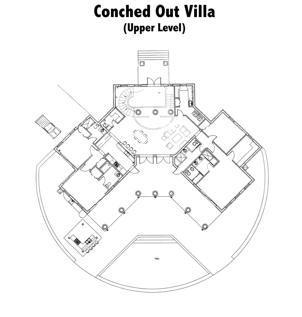 The upper level floor plan of Conched Out, Long Bay Beach, Providenciales (Provo), Turks and Caicos Islands.