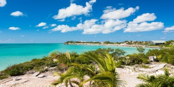 Tropical greens and shimmering turquoise are the dominant colours surrounding this charming Caribbean villa in the Turks and Caicos Islands.