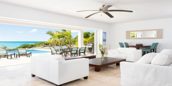 The beautiful and spacious living room of Miami Vice Two, Sapodilla Bay, Providenciales (Provo), Turks and Caicos Islands.