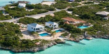 An aerial photo showing the oceanfront location of Miami Vice One and Miami Vice Two, near Sapodilla Bay, Providenciales (Provo), Turks and Caicos Islands.