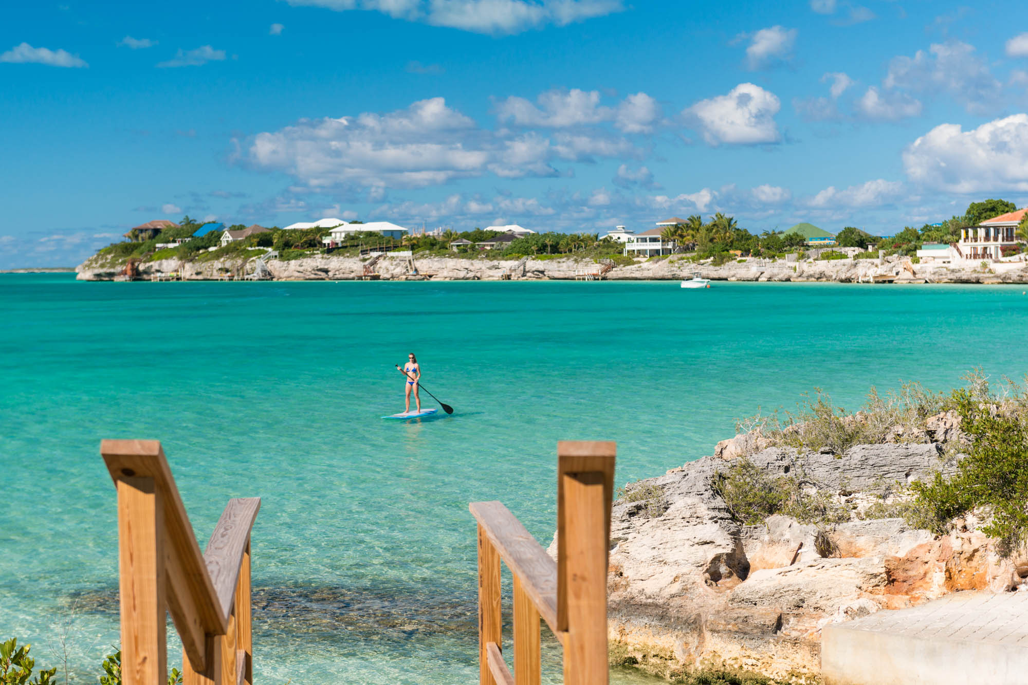 Miami Vice Two, Sapodilla Bay, Providenciales (Provo), Turks and Caicos Islands is only steps away from the crystal clear sea.