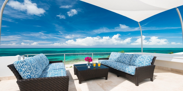 A brand-new, spacious, modern, beach villa rental with 2 master bedrooms, 2.5 bathrooms, freshwater swimming pool and a roof terrace offering spectacular views of the turquoise sea!