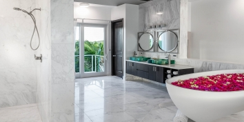 This Turks and Caicos beach villa rental is tastefully decorated throughout.