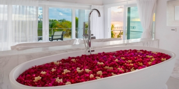 This Turks and Caicos beach villa rental has a large bathtub for your heavenly relaxation.