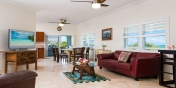 The comfortable living area of this Turks and Caicos villa rental.