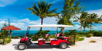 The deluxe golf cart Reef Pearl, Grace Bay Beach, Providenciales (Provo), Turks and Caicos Islands.