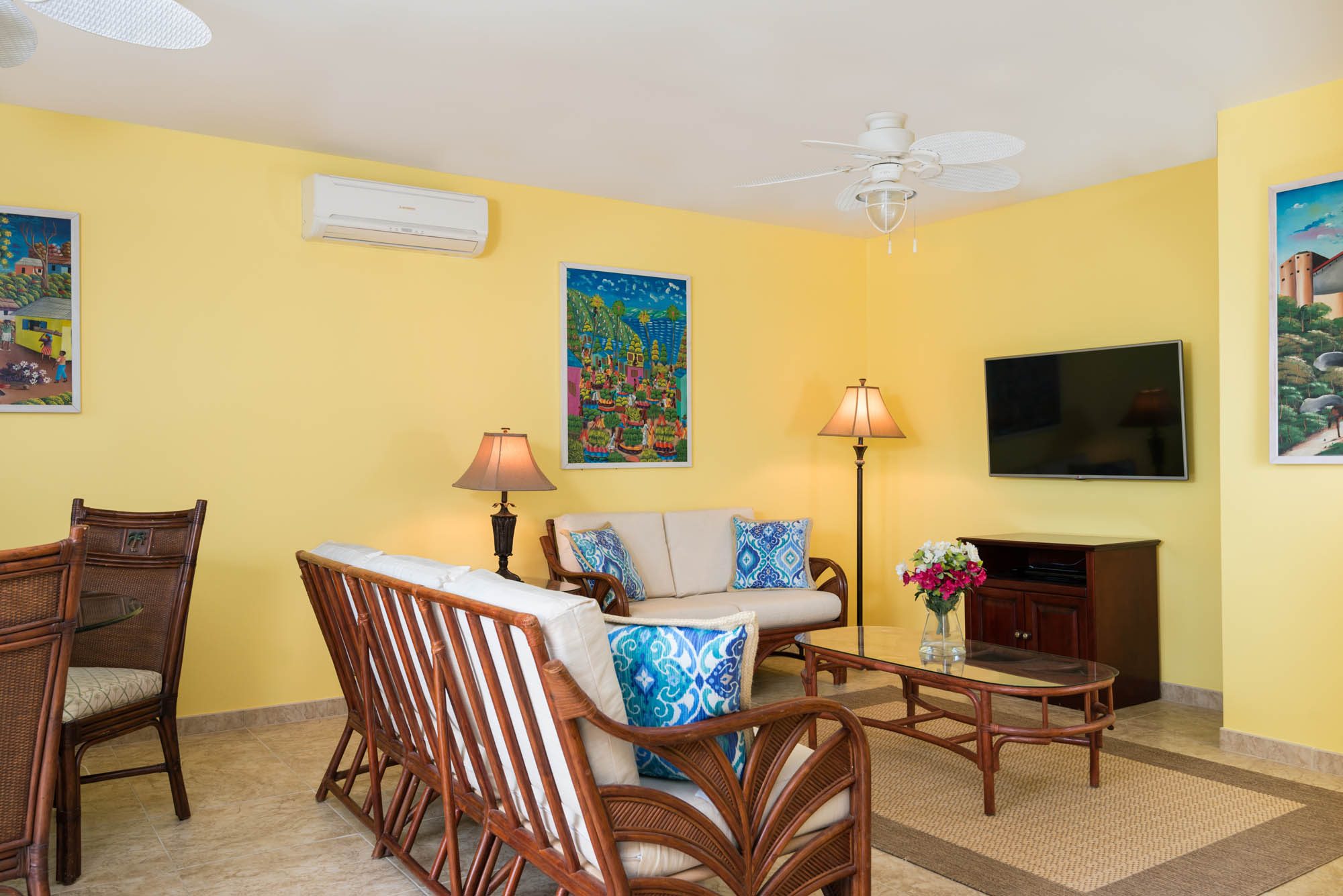 The beach level has an additional living area at villa Sandy Beaches, Long Bay Beach, Providenciales (Provo), Turks and Caicos Islands.