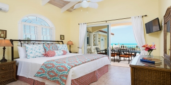 One of the beautiful upper level bedrooms at villa Sandy Beaches, Long Bay Beach, Providenciales (Provo), Turks and Caicos Islands.