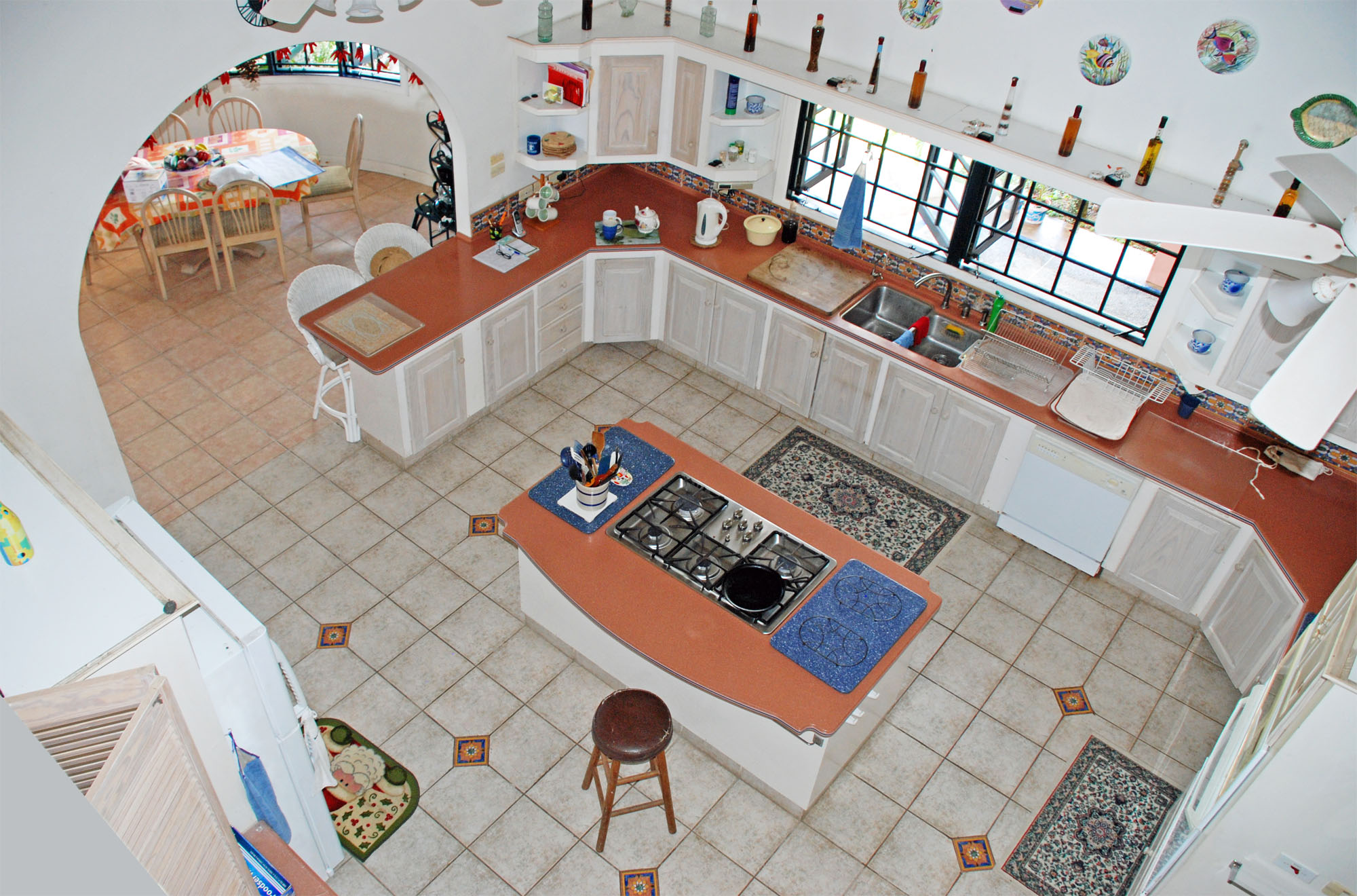 SOL Y MAR VILLA, TOBAGO W.I. Kitchen and part of the breakfast room from loft above
