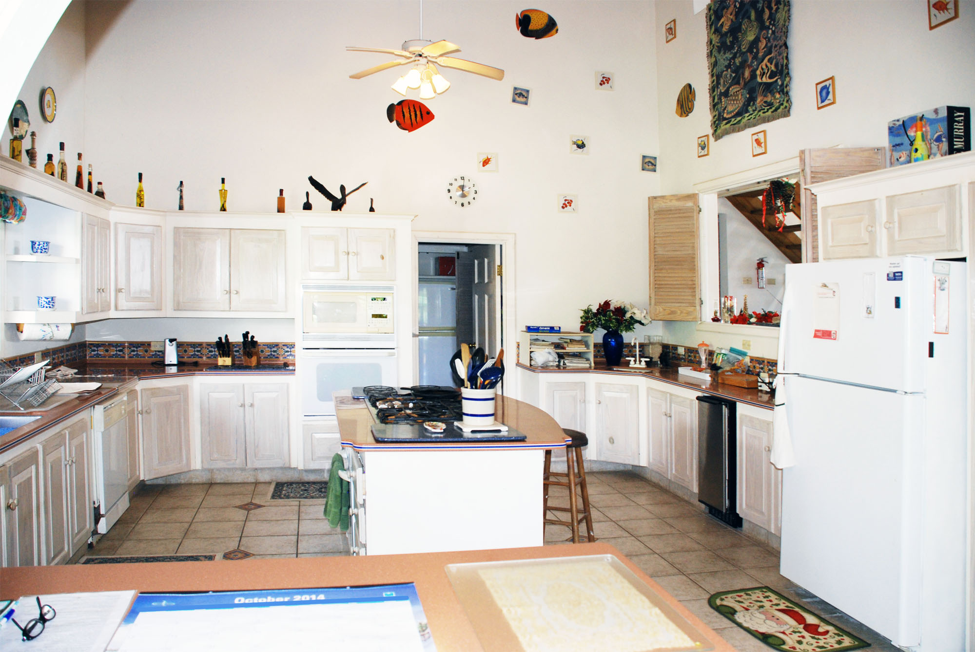 SOL Y MAR VILLA, TOBAGO W.I. Large kitchen and pantry, center island, two ovens, two refrigerators, microwave