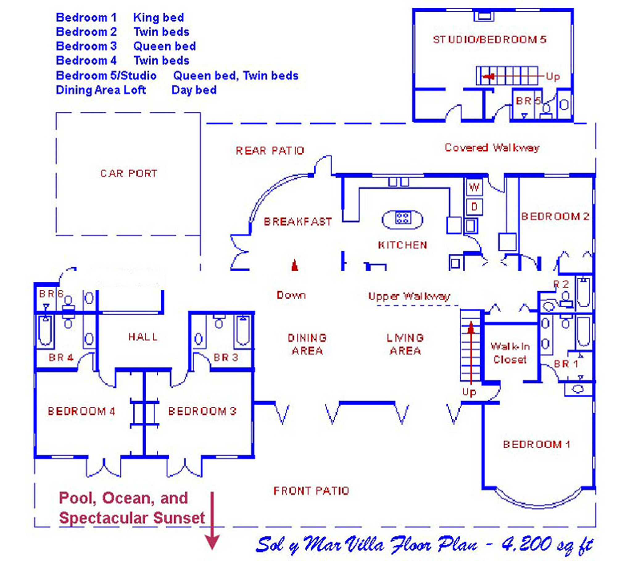 SOL Y MAR VILLA, TOBAGO W.I. Villa floor plan, plus bed types in each bedroom