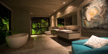 This Turks and Caicos luxury villa rental has a freestanding bathtub in each of the luxurious bathrooms.