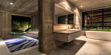 One of the large en-suite bathrooms of stunning Villa Islander, Providenciales (Provo), Turks and Caicos Islands, B.W.I.