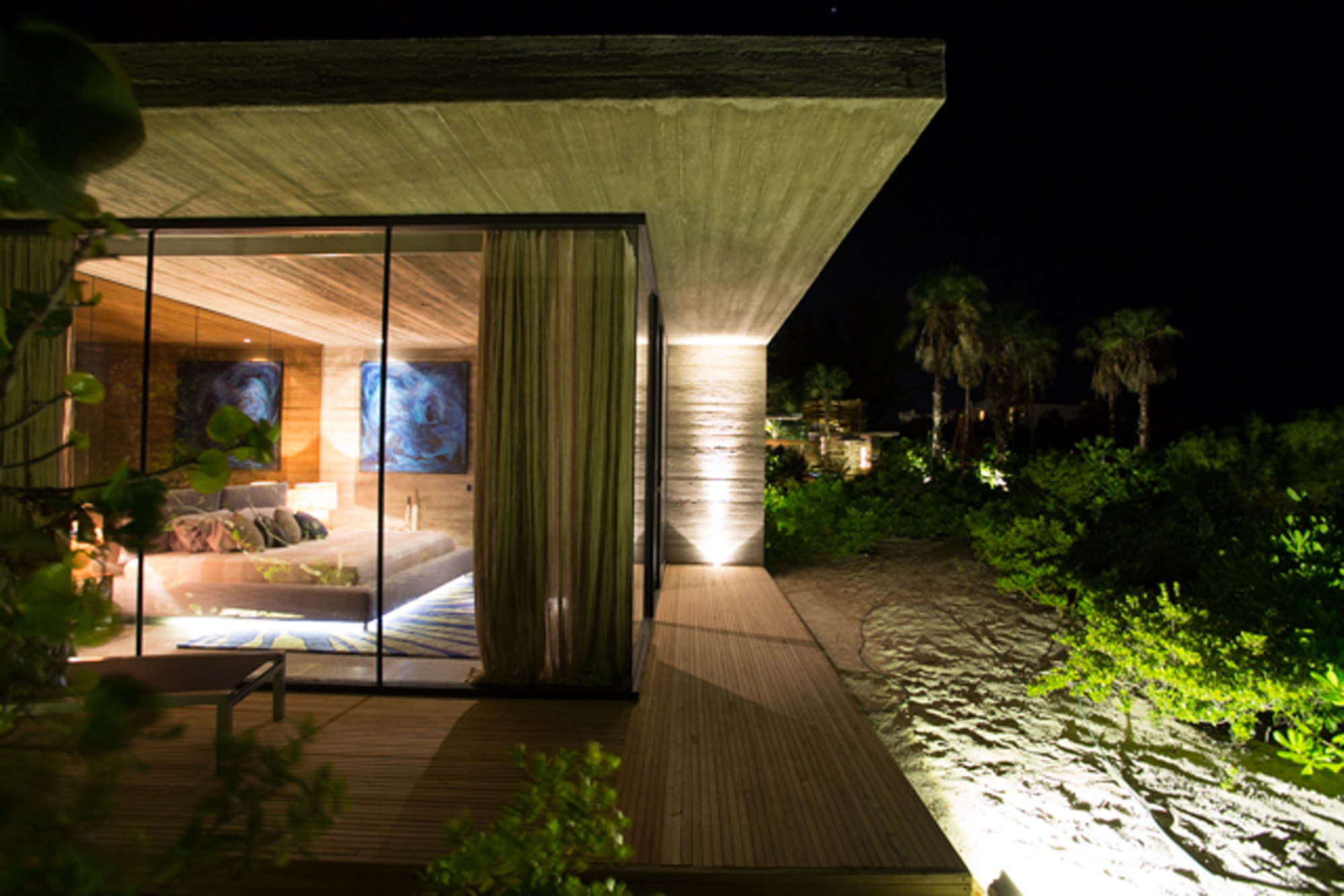 Concrete, natural wood and glass are perfectly combined at Villa Islander, Providenciales (Provo), Turks and Caicos Islands, B.W.I.