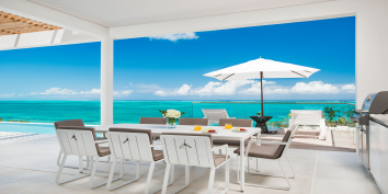 The spectacular view from the living room of one of the Beach Enclave North Shore beachfront villas, Providenciales (Provo), Turks and Caicos Islands, BWI.