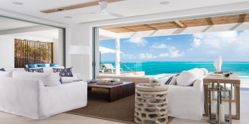 The indoor living room of Beach Enclave North Shore Villa 4, Providenciales, Turks and Caicos Islands.