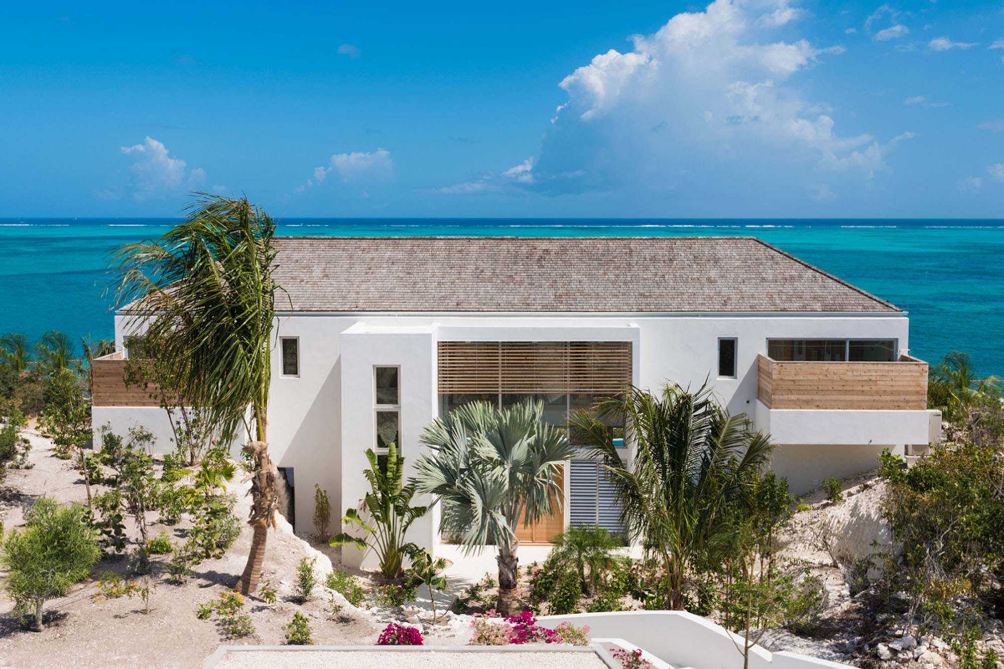 All the bedrooms are ocean facing in some of the Beach Enclave North Shore beachfront villas, Providenciales (Provo), Turks and Caicos Islands, BWI.