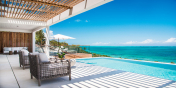 This Turks and Caicos ultra-luxurious villa rental enjoys fantastic ocean views.