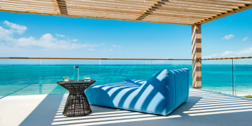 Multiple deck spaces for relaxing and lounging at the Beach Enclave North Shore Villa 4, Providenciales (Provo), Turks and Caicos Islands, BWI.