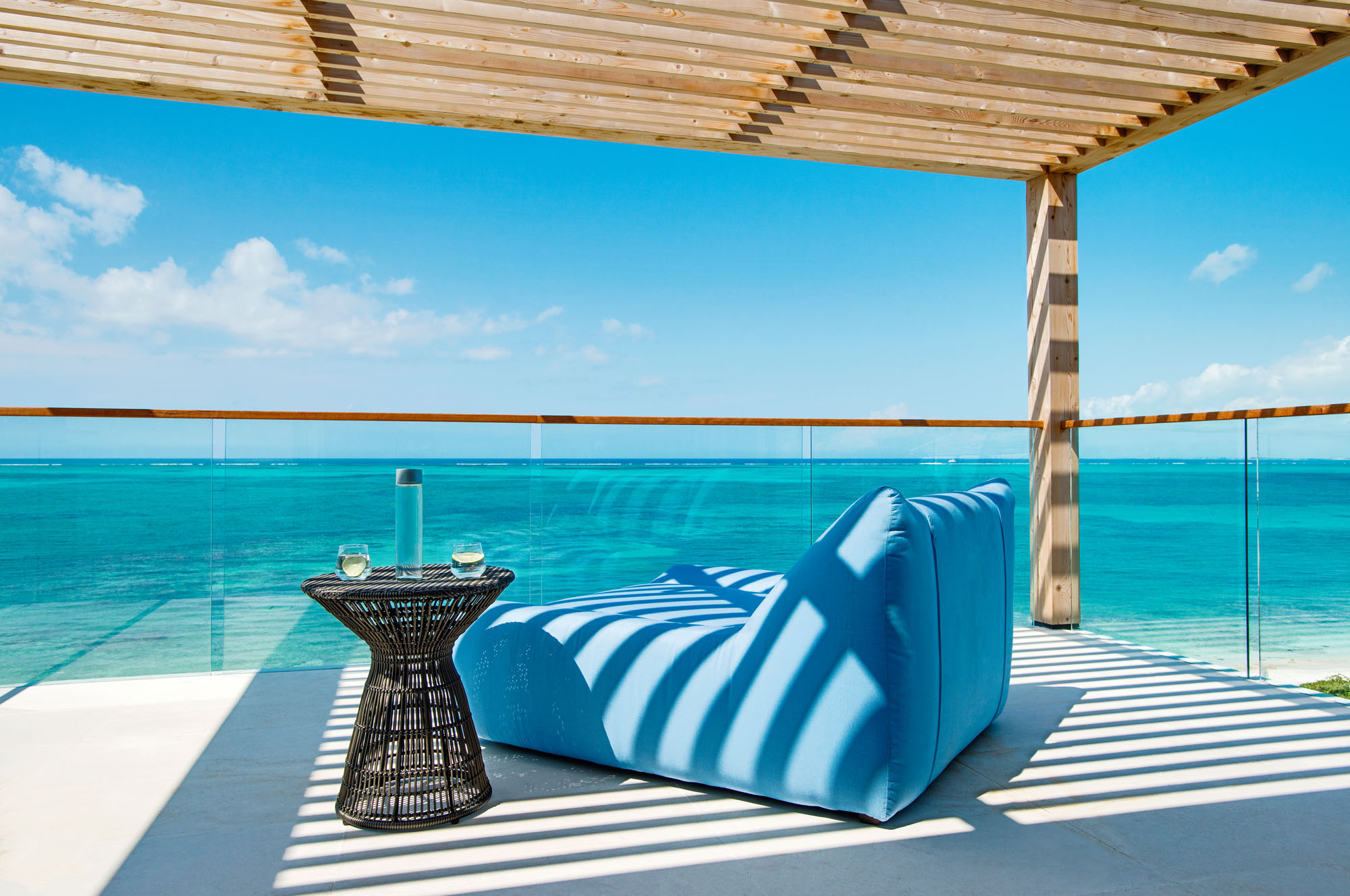 The master bathrooms of these Turks and Caicos luxury beach villa rentals are very spacious.